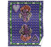 Art Gloss Queen of Hearts Blue Purple Poster