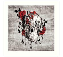 Melt down, grunge rose skull Art Print