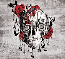 Melt down, grunge rose skull by KristyPatterson