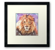 Lion - Pencil and Water Colour Framed Print