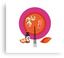 Sushi plate & chop sticks Canvas Print