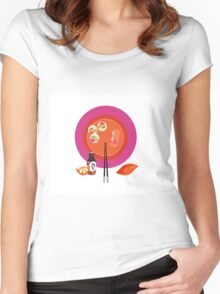 Sushi plate & chop sticks Women's Fitted Scoop T-Shirt