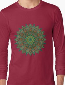 orange and green mandala style bohemian chic Long Sleeve T-Shirt