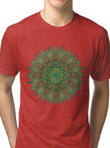 orange and green mandala style bohemian chic Tri-blend T-Shirt