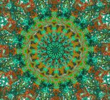 orange and green mandala style bohemian chic Sticker