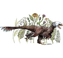 Velociraptor and plant life Photographic Print
