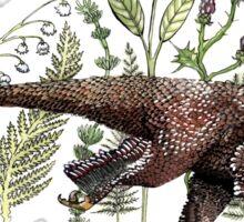 Velociraptor and plant life Sticker