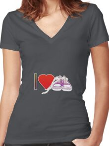 I love sneakers/trainers Women's Fitted V-Neck T-Shirt