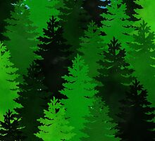 green pine trees pattern by napiks
