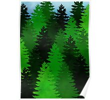 green pine trees pattern Poster