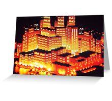 8-bit pixel cityscape Greeting Card