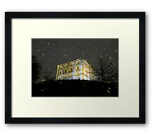 Snowy Night At Norwich Castle Museum, England Framed Print