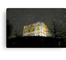Snowy Night At Norwich Castle Museum, England Canvas Print
