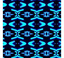 Bright Neon Blue Abstract Pattern Photographic Print