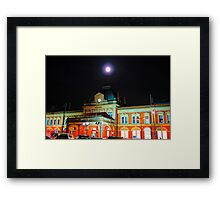 Full Moon Above Norwich Train Station, England. Framed Print