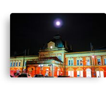 Full Moon Above Norwich Train Station, England. Canvas Print