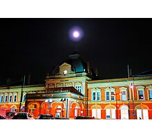 Full Moon Above Norwich Train Station, England. Photographic Print