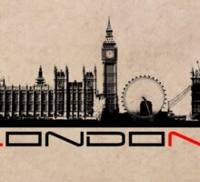 London skyline city black Sticker
