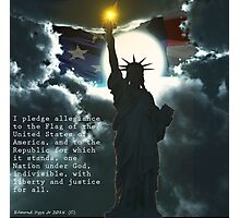 Pledge of Allegiance with Liberty and American Flag Photographic Print