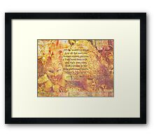 Shakespeare all the worlds a stage quote Framed Print