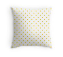 Taxi Yellow Polka Dots on White Throw Pillow