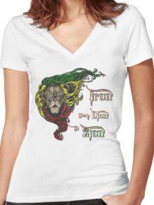 Reggae Rasta Iron, Lion, Zion 4 Women's Fitted V-Neck T-Shirt