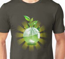 Green Plant Grows from Globe Unisex T-Shirt