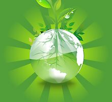 Green Plant Grows from Globe by pdgraphics