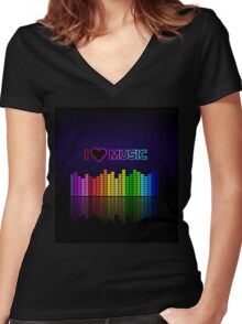 I love music Women's Fitted V-Neck T-Shirt