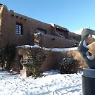 Sculpture, February, Adobe Architecture, Snow View, Santa Fe, New Mexico   by lenspiro