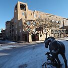 Sculpture, January, Adobe Architecture, Snow View, Santa Fe, New Mexico   by lenspiro