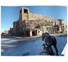 Sculpture, January, Adobe Architecture, Snow View, Santa Fe, New Mexico   Poster