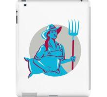 Female Organic Farmer Sack Pitchfork Circle Retro iPad Case/Skin