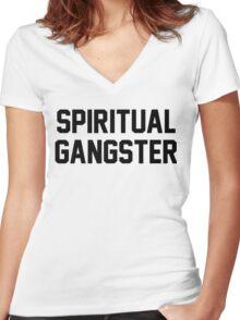 Spiritual Gangster - Black Text Women's Fitted V-Neck T-Shirt