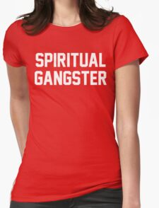 Spiritual Gangster - White Text Womens Fitted T-Shirt