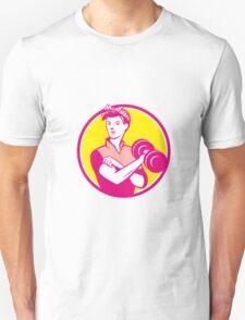 Vintage Woman Lifting Dumbbell Circle Retro T-Shirt