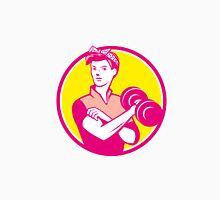 Vintage Woman Lifting Dumbbell Circle Retro Unisex T-Shirt