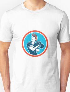 Bandana Woman Lifting Dumbbell Circle Retro T-Shirt