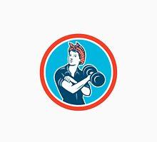 Bandana Woman Lifting Dumbbell Circle Retro Unisex T-Shirt