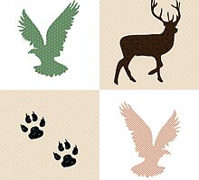 Rustic Wildlife Pattern by Christina Rollo