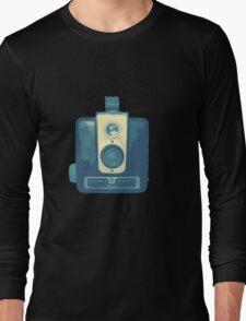 Classic Hawkeye Camera Design in Blue Long Sleeve T-Shirt