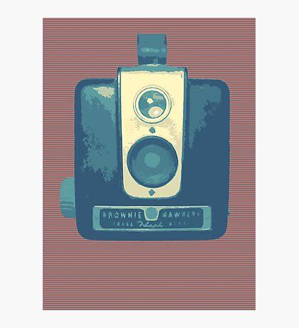 Classic Hawkeye Camera Design in Blue Photographic Print