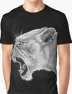 Angry Lioness w/ White Charcoal Graphic T-Shirt