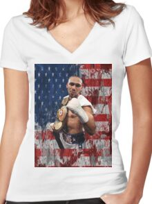 Keith Thurman One Time Boxing Women's Fitted V-Neck T-Shirt