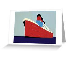 Vintage Ocean Liner Cruise Illustration Greeting Card