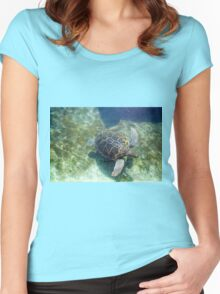 Green sea turtle (Chelonia mydas) swimming.  Women's Fitted Scoop T-Shirt