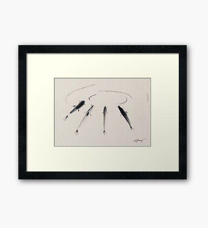 Sumi-e Fish Framed Print