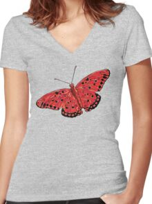 Red Heart Butterfly  Women's Fitted V-Neck T-Shirt