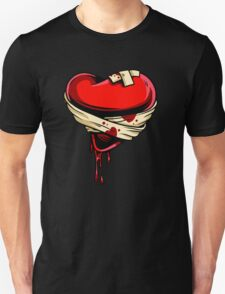 Bleeding broken bandaged heart Unisex T-Shirt