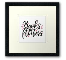 Books over flowers Framed Print
